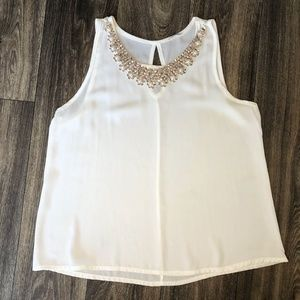 White Tank Top with Gold Sequins and Pearl Detail